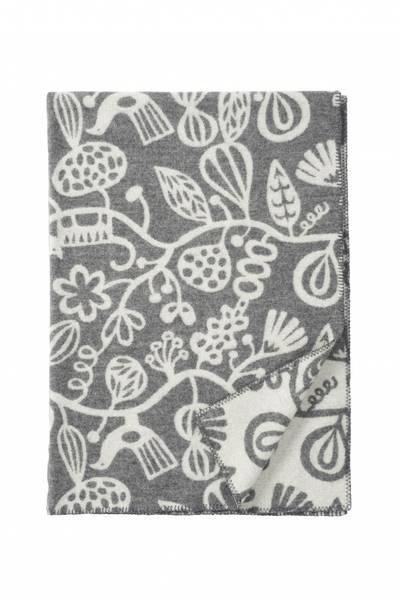 Botanical garden grey woven blanket, 100% lambs wool